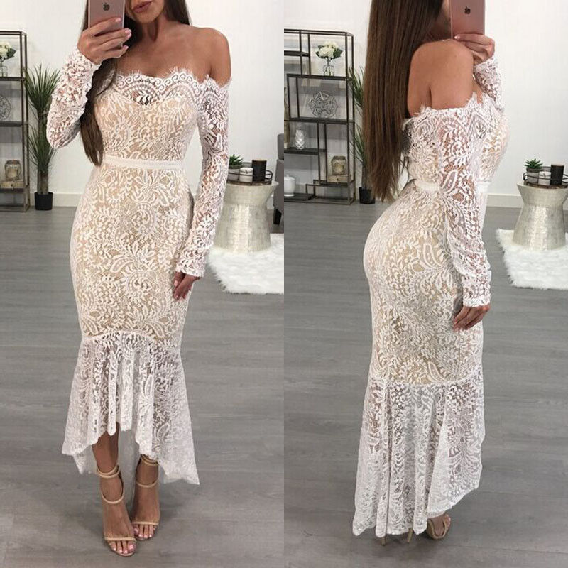 HIRIGIN Newest Hot Women Formal Long Lace Long Sleeve Dress Prom Night Party Wedding Gown Pop