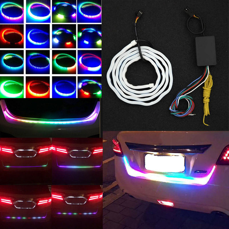 Auto Car Tailgate Turning Signal Light Bar RGB LED Strip Trunk Light Strips Multicolor Braking Lamp