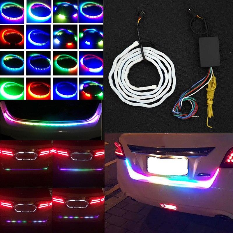 Авто задней двери, включение сигнала свет бар RGB светодиодные полосы освещения багажника полосы многоцветный Тормозная Лампа CSL2017