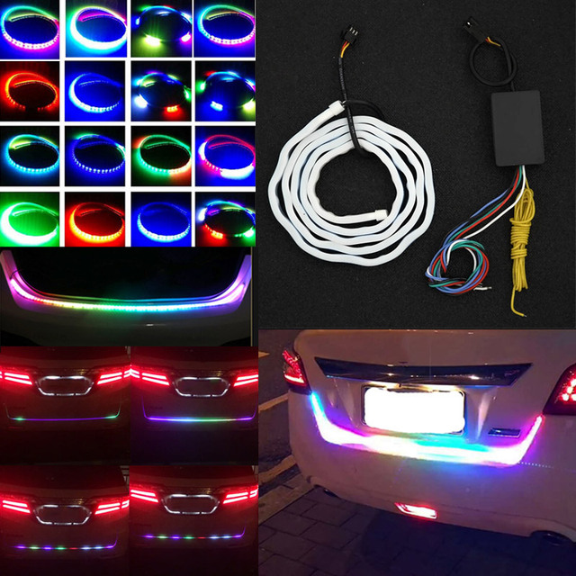 Auto car tailgate turning signal light bar rgb led strip trunk light auto car tailgate turning signal light bar rgb led strip trunk light strips multicolor braking lamp mozeypictures Image collections