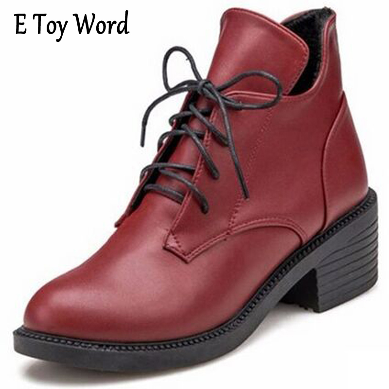 E TOY WORD Boots Women's Autumn Lace Up Boots Thick Boots Martin female Female British Style Retro Round Mmotorcycle Boots e toy word bullock ankle boots for women autumn increase lace up martin boots british retro boots winter high help botas mujer