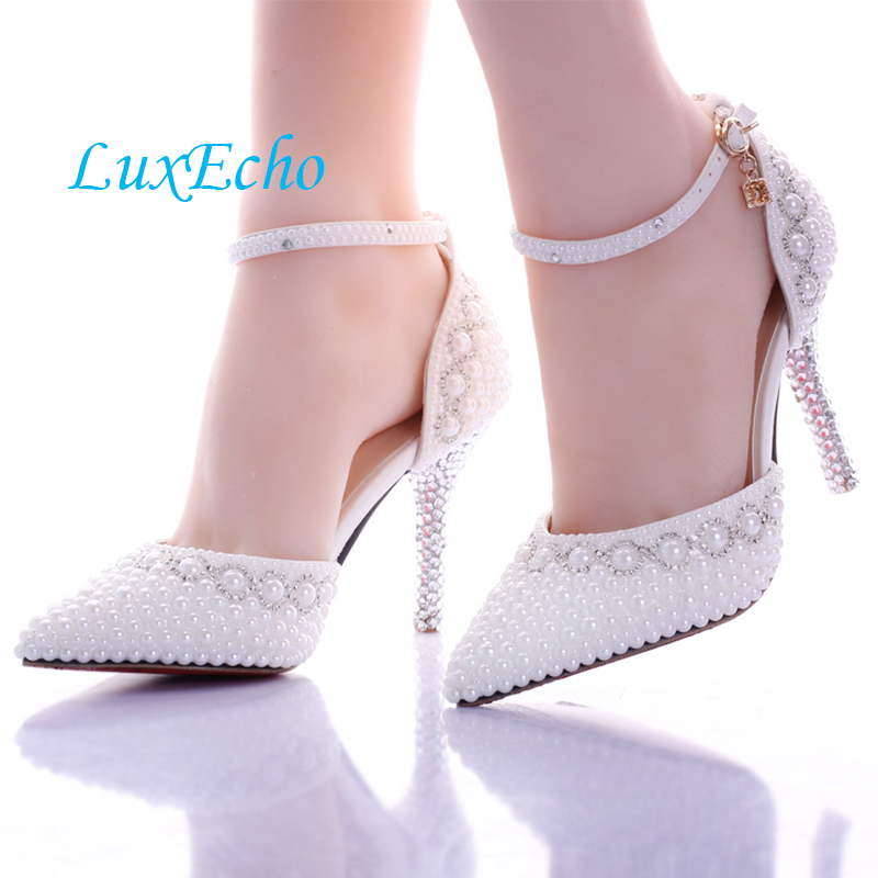Pointed toe White pearl rhinestone wedding shoes 7cm/9cm thin heels shoes fashion bridal shoes female party sandals цены онлайн