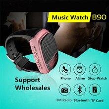 2016 Оптовая B90 Bluetooth Спорт, Музыка Часы с TF Карты, B90 Беспроводной Часы Bluetooth Динамик
