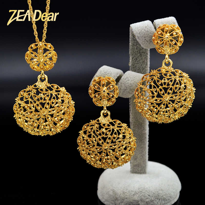 ZEADear Jewelry Vintage Round Jewelry Set For Women Earrings Necklace Pendant For Party Wedding Hollow Out Jewelry Sets Findings