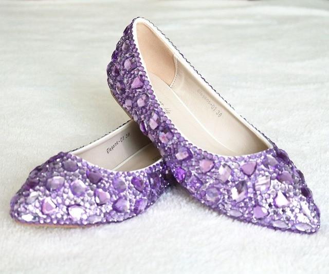 a69b322c504c Newest fashion flats shoes purple diamond flats woman shoes Ballet flats  woman shoes