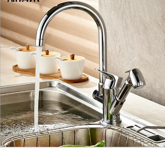 купить New arrivals kitchen faucet with pull out hand shower head brass chrome kitchen sink faucet pull out kitchen water tap sink tap недорого