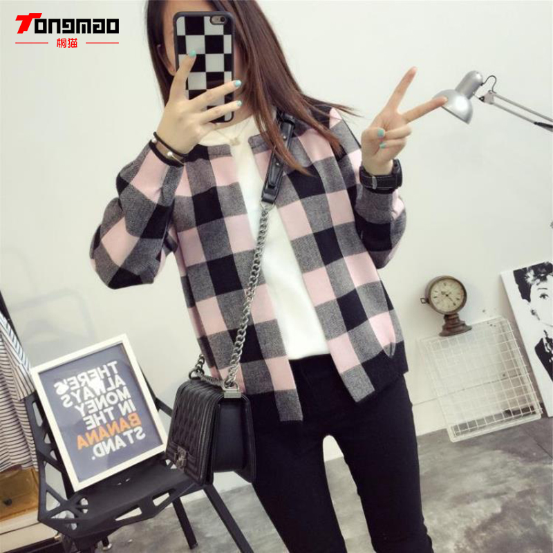 TONGMAO Autumn New Ladies Casual Fashion Wild Loose Sweater Coat Long-sleeved Round Neck Knit Cardigan Multicolor Plaid