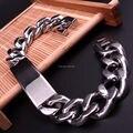 77 g de peso de alta qualidade aço inoxidável 316L dos homens Biker Curb cadeia ID pulseira Bangle Jewlery 15 mm 9 polegada
