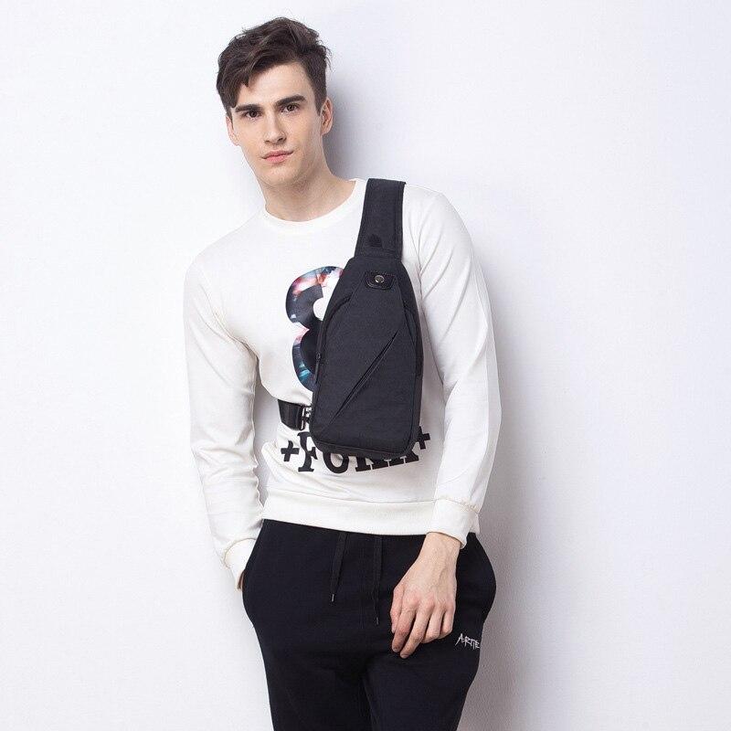 Simple male Pockets canvas Chest bags Men Korean Casual Messenger sling bag anti theft Cross body Bag waterproof Shoulder Bags