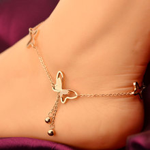 2016 Fashion Top Quality 18KGP Rose Gold Plated Titanium Steel Butterfly Anklet Women's Fashion Brand Jewelry