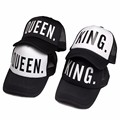 KING QUEEN Baseball Cap Print Men Women Polyester Mesh Summer Visor Snapback Caps White Black Couple Lover Hip Hop Sport Hats
