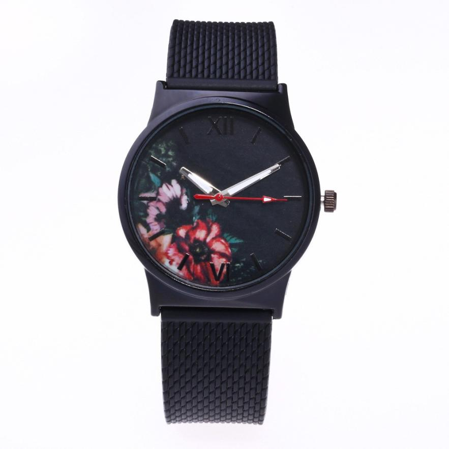 Quartz Wristwatches   Simple  Round Women Watch  Silicone Analog Alloy  Watches Feminino 18JAN4