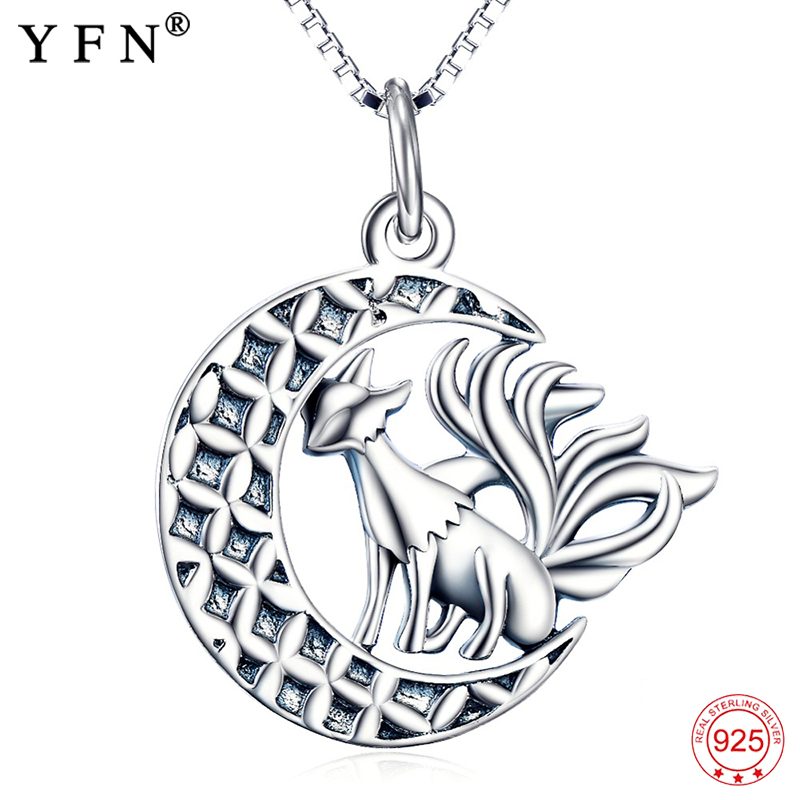 Animal Necklace 925 Sterling Silver Jewelry Halloween Nine Tail Fox Pendants Necklaces With Moon Silver Jewelry For Women Animal Necklace 925 Sterling Silver Jewelry Halloween Nine Tail Fox Pendants Necklaces With Moon Silver Jewelry For Women
