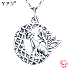YFN Animal Necklace 925 Sterling Silver For Halloween Nine Tail Fox Pendant Necklaces with Moon Jewelry GNX10342
