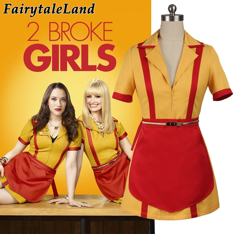 Custom Made 2 Broke Girls Costume Halloween Outfit Max Black Caroline Wesbox Channing Cosplay Suit 2 Broke Girls Apron Dress
