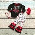 Bebê meninas V-roupas meninas beijos yall Valentiens dia dias roupas com coração pant crianças boutique de roupas com accessoreis