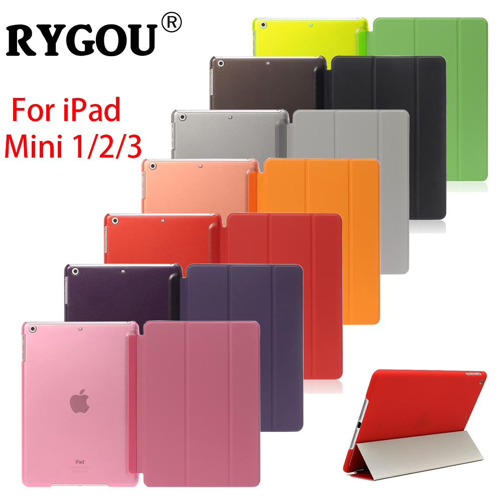 RYGOU For iPad mini Case Magnet Wake up Sleep Function Stand Pu Leather Smart Case For Apple iPad mini 1 2 3 Tablet Accessories apple ipad mini smart case black mgn62zm a