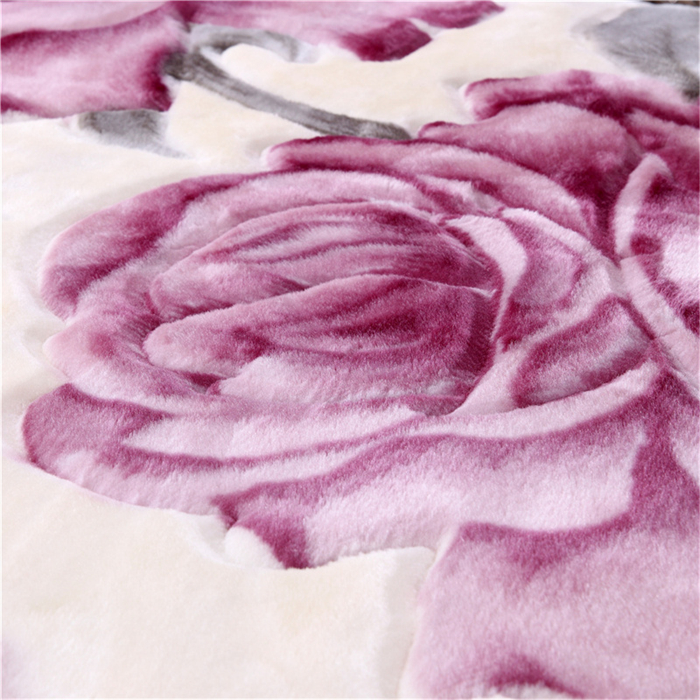 Double Layer Queen Size Fluffy Chunky Large Mink Blanket Super Soft Floral Printed Raschel Throw Thick Warm Faux Fur Bed Blanket-in Blankets from Home & Garden    3