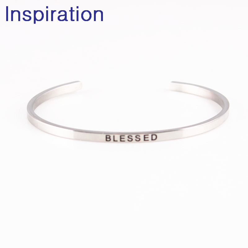Us 3 28 Blessed Mantra Bracelets 316l Stainless Steel Open Cuff Id Bar Bangle Fashion Women Female Inspirational Jewelry Bracelet In Bangles From