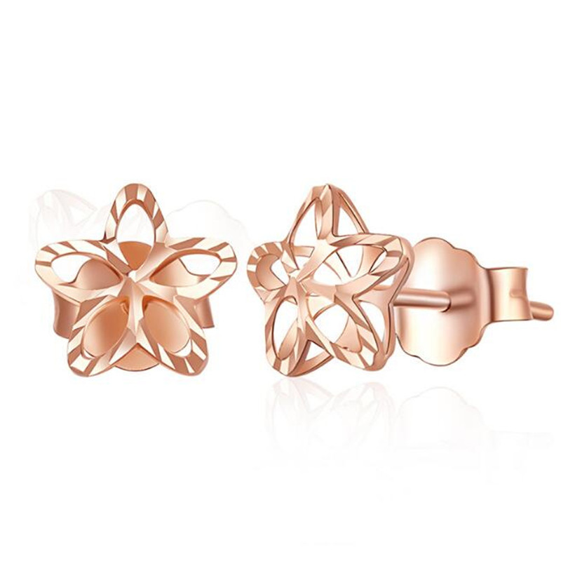 18K Pure Gold Hollow Flower Stud Earrings For Women Gold Rose Gold Fashion Wedding Jewelry Earrings Female bijoux Top Quality