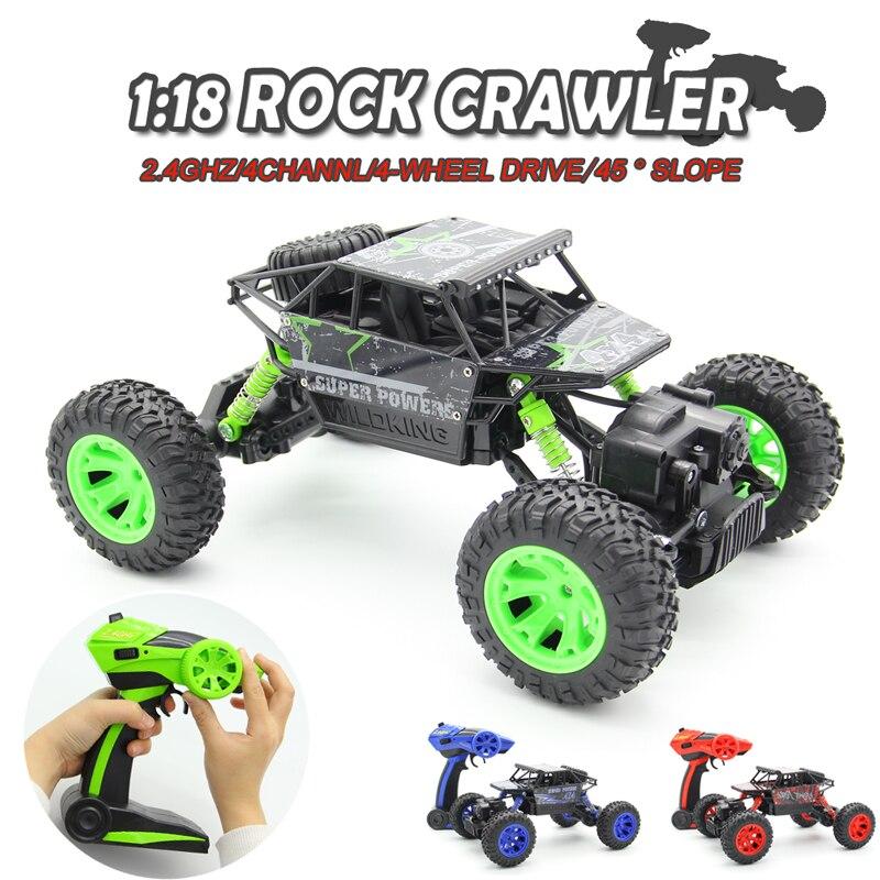 1:18 2.4G 4WD Rock Crawler 4CH RC Auto RC 4x4 Roccia crawler Auto Doppi Motori Drive Bigfoot Auto Telecomando Modello di Auto Off-Road