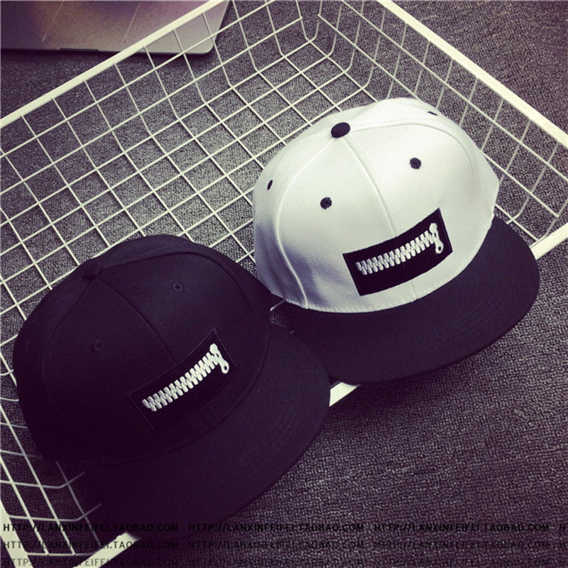 TOYOOSKY New Zipper Pattern Hats Baseball Cap Outdoor Sports Flat Brim Hats Hip-Hop Caps Snapback Sun Hat For Women Men