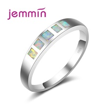 Jemmin Top Quality Brand Simple White Fire Opal Rings For Women/Men Wedding Engagement 925 Sterling Silver Party Ring Jewellery