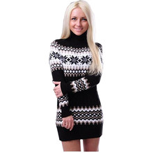 2018 Women 's Sweater long-sleeved High Necked Printing Women Sweaters And Pullovers European And American Vestidos MMY69172(China)