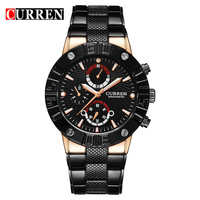 50pcs Lot CURREN Watches Men Quality Brand Military Wrist Watches Full Steel Men Sports Watch Waterproof