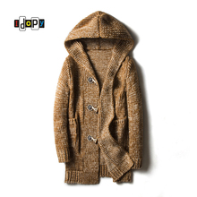 Idopy Men's Sweatercoat Thich Coarse Wool Triple Breasted striped Button Regular Medium style Hooded Sweater Cardigan