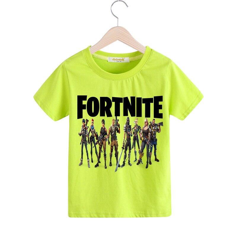 Boy White T-shirt Clothes Girl Summer Short Sleeve 100%Cotton Tee Tops Clothing 1-13 Years Children Fortnite Tshirt Cotume TX089