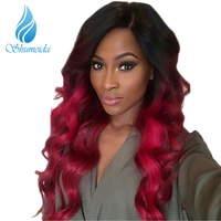 SHUMEIDA Red Ombre Human Hair Lace Front Wig Brazilian Remy Hair 150 Ombre Wig Pre Plucked