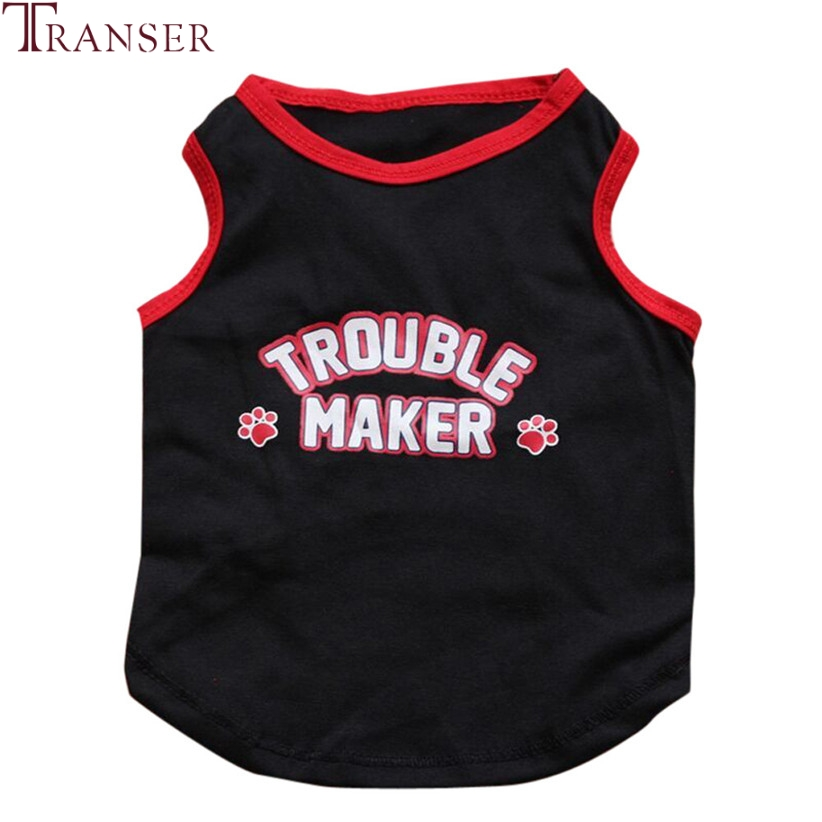 Transer Pet Dog Clothes For Small Dogs TROUBLE MAKER Sports Dog Vest T-Shirt Summer Pet Supply 80118