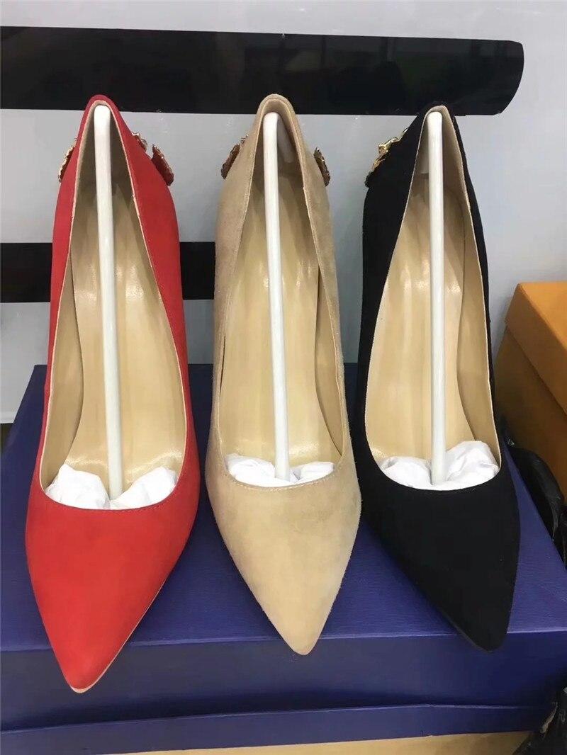 Gladiateur red Chaussures Coloré Mince En Strass Soirée Sapatos Nouveau Élégante Pompes Point Talons Toe Métal Cuir Classique apricot Peu Profonde Hauts De Black vxtgxq1