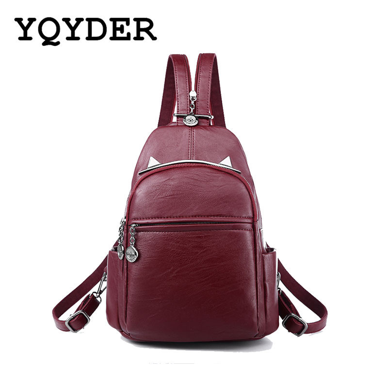 Women Backpacks Casual Black Soft Leather Multifunction Zipper School Bags For Teenager Girls Female Travel Bag Mochila Feminina zooler women s backpack eyes sequined designer black cartoon eyes backpacks travel bag cute shell backpacks for teenager girls