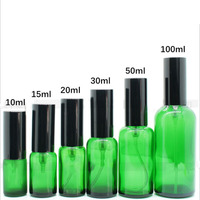 10 15 20ml 1 ctn Portable Gold and Silver Black Spray head green Glass dropper Essential Oil Bottles Cosmetics Container Travel