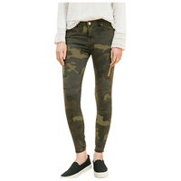 MYPF Women Jeans Mid Waist Skinny Tight Elastic Camouflage Jeans Women Pencil Stretch Army Green Pencil Pants Zipper Jeans