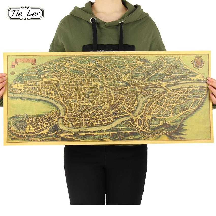 Древний старый Карта города Древний Рим плакат крафт Бумага Home Decor Wall Стикеры 72x32 см