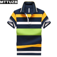 MTTUZB Korean style men fashion strip turn-down collar shirt men's casual slim summer polo shirt man short sleeve tops M-4XL