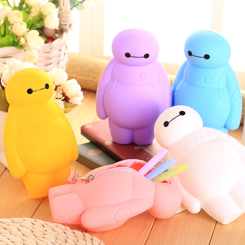 New Silicone <font><b>Big</b></font> Hero 6 Baymax <font><b>Kawaii</b></font> <font><b>Pencil</b></font> <font><b>Cases</b></font> Multi-functional Stationery Pen Bags Storage <font><b>Pencil</b></font> Box <font><b>School</b></font> Supplies image
