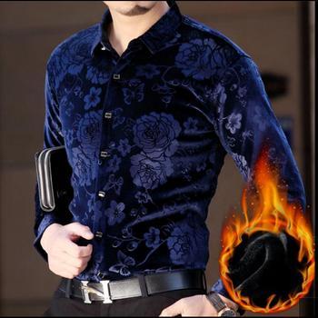 M-3xl Winter New Men's Printing Long Sleeve Shirts Thicken Warm Gold Velour Shirt Middle-aged Slim Plus Velvet Padded Shirt