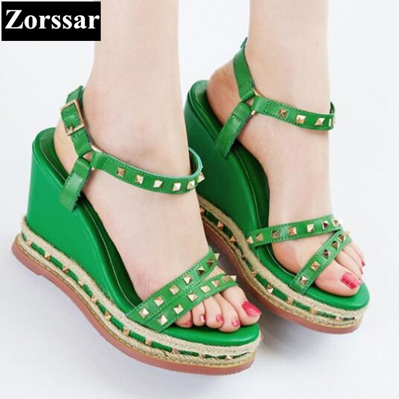 Green, red 2017 Summer Shoes Woman platform sandals wedges High heels fashion rivets Genuine leather womens peep toe pumps heels woman fashion high heels sandals women genuine leather buckle summer shoes brand new wedges casual platform sandal gold silver