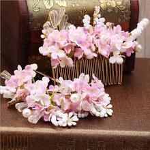 3 UNIDS Rosa Flor Nupcial Del Pelo Peines tiaras accesorios para el cabello venda Cristalina de la vendimia de las mujeres de boda hecho a mano de las horquillas