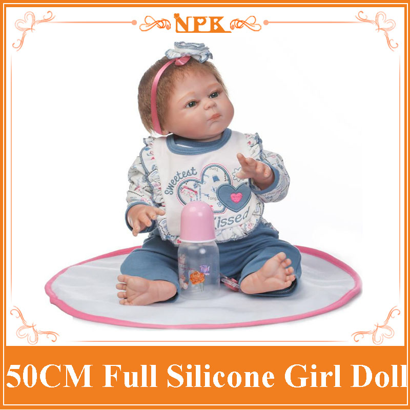 New NPK 50CM Full Silicone Vinyl Reborn Baby Doll Realistic Baby Girl Dolls With Lovely 20Doll Clothes Toys For Girls Brinquedo npk 22inch reborn dolls full silicone doll reborn baby toys for girls birthday gift silicone reborn babies with fashion clothes