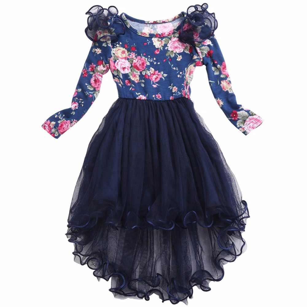 Платье с цветочным узором для маленьких девочек; свадебное платье с длинными рукавами; кружевные вечерние платья-пачки для девочек; Одежда для маленьких девочек; зимняя От 6 до 7 лет