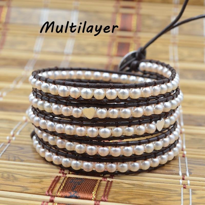 Drop Shipping Women Boho Bracelet pink pearl on Leather Wrap Bracelet Semi Precious Stone Beaded Bracelet