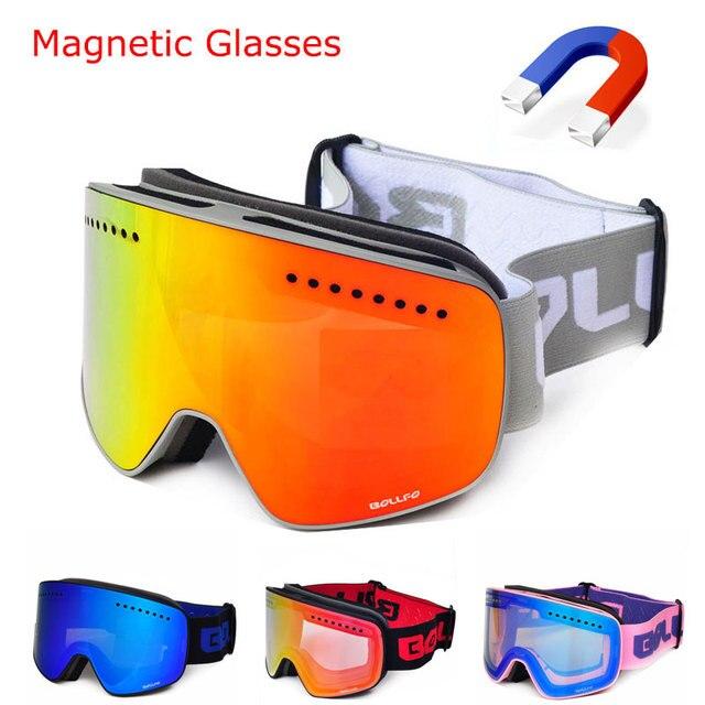 941b84b0728c Winter magnetic connection ski goggles UV400 anti-fog ski eyewear mask snow  glasses for men women snowboard Skiing goggles