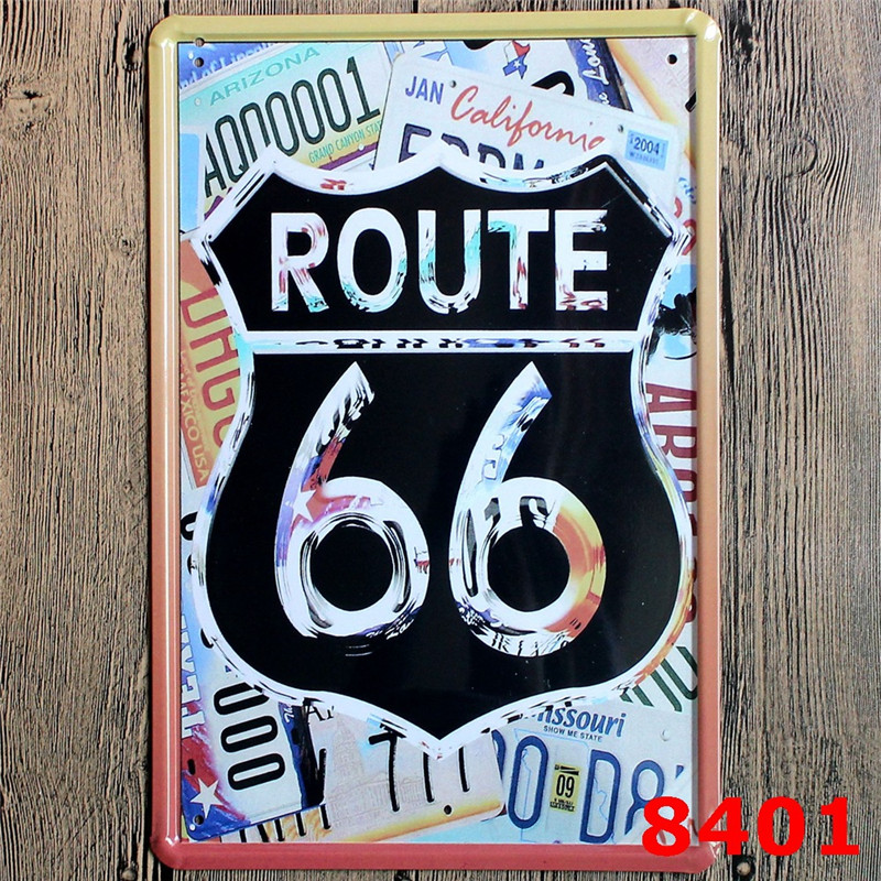 Route 66 Metal Signs Vintage Home Decor Bar Pub Decorative Metal Plates  Retro Sheet Tin Sign Posters Wall Decor Painting In Plaques U0026 Signs From  Home ...