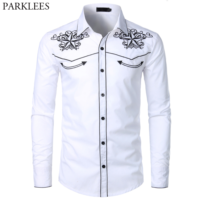 Double Star Embroidery White Tuxedo Shirt Men Slim Fit Long Sleeve Dress Shirts Mens Wedding Party Banquet Social Shirt Male 2XL