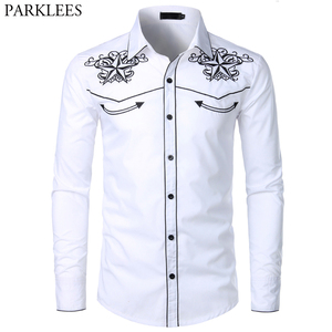 Image 1 - Double Star Embroidery White Tuxedo Shirt Men Slim Fit Long Sleeve Dress Shirts Mens Wedding Party Banquet Social Shirt Male 2XL